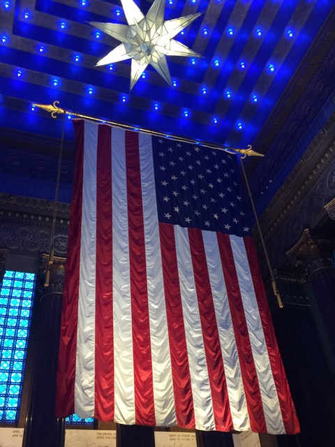 The US Flag displayed here is the largest legal size it can be made. Photo by Melody Pittman.