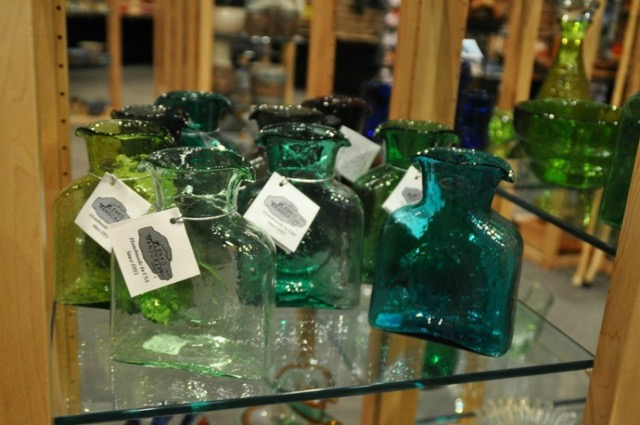 Beautiful West Virginia Blenko glassware for sale at the WV State Museum.    Photo by Melody Pittman.