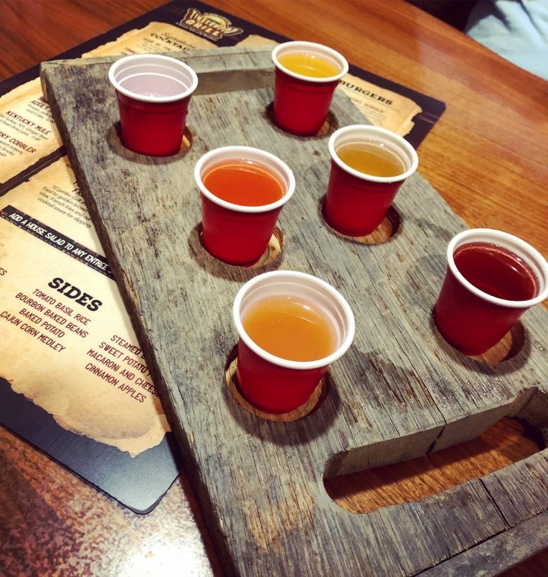 You'd better believe that the Ole Smoky Moonshine Sampler is a popular at the Timberwood Grill.