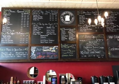 Noble Coffee has an excellent selection of small batch artisan roasts, teas, and pastries.