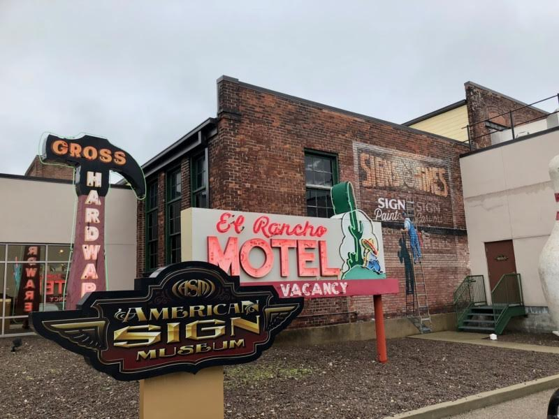 The outside area of the American Sign Museum.